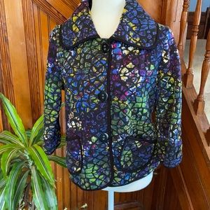 Multiples brand artsy quilted mosaic soft blazer.